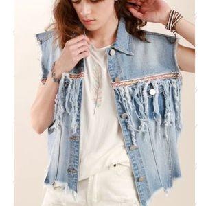 POL Jackets & Coats - 🔥1 hr SALE - POL, denim vest, distressed fringe